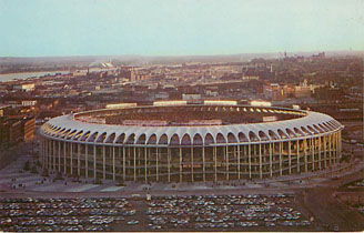 Baseball Postcard - Aerial View of Busch Memorial Stadium