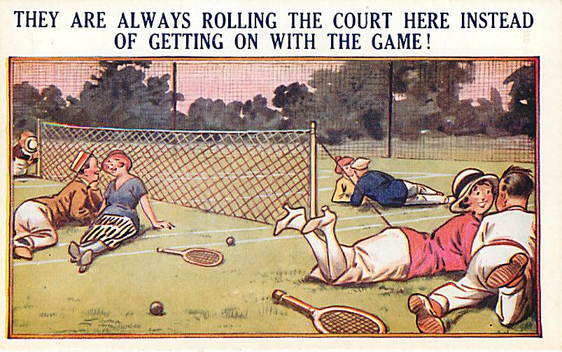 They are always Rolling The Court, Tennis Comic Postcard