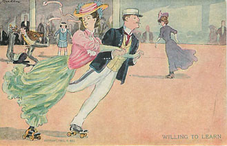 Roller Skating Series No. 7 Postcard - Willing to Learn!