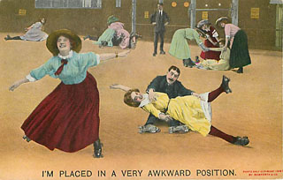 Bamforth & Company Roller Skating Postcard - Awkward Position