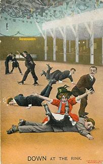 Bamforth & Co. Roller Skating Postcard - DOWN at the Rink