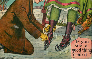 Ice Skating - If you see a good thing grab it - Postcard