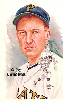 Arky Vaughan PEREZ GALLERIES STEELE BASEBALL POSTCARD