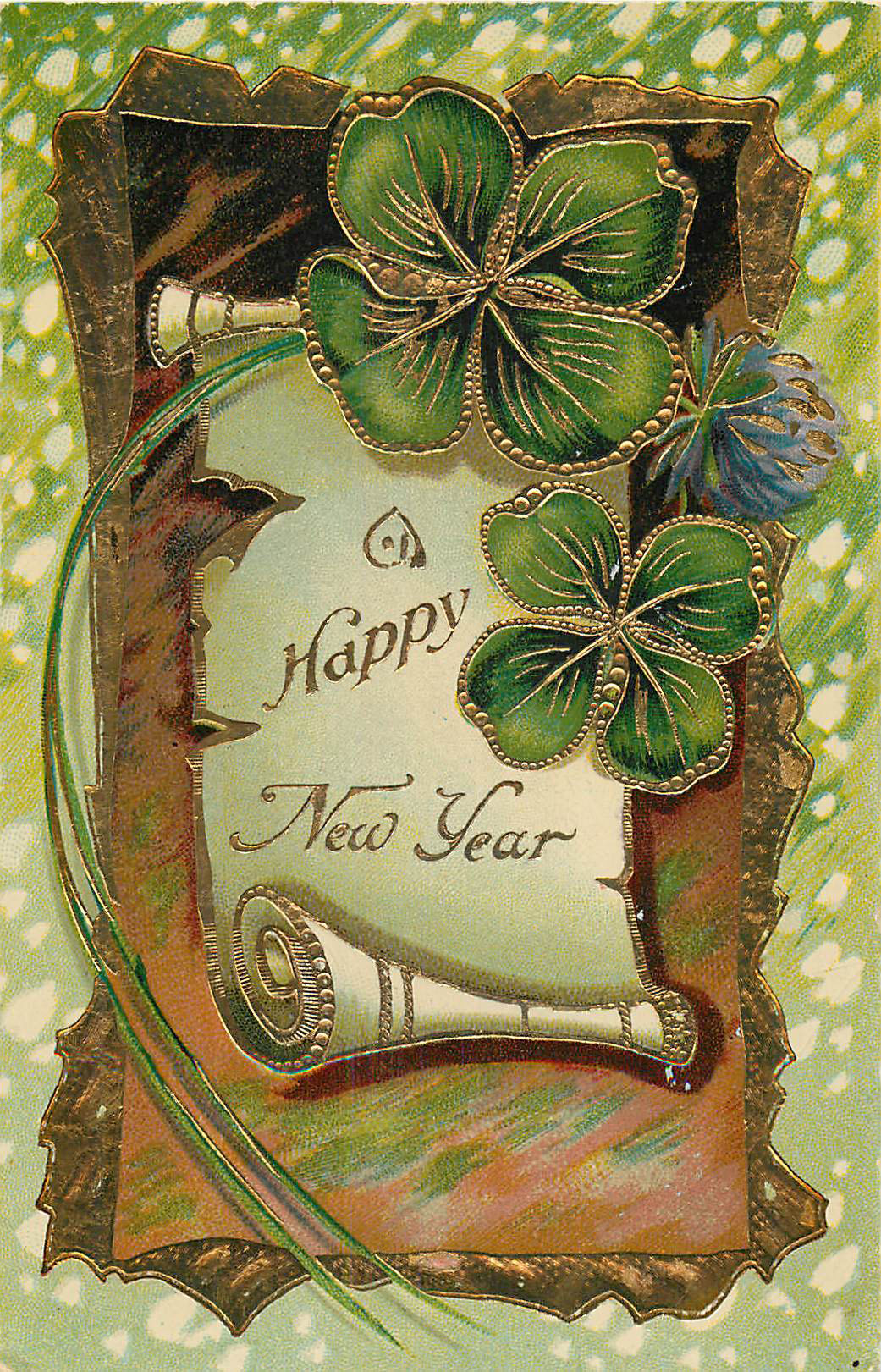 A Happy New Year Postcard with Clovers