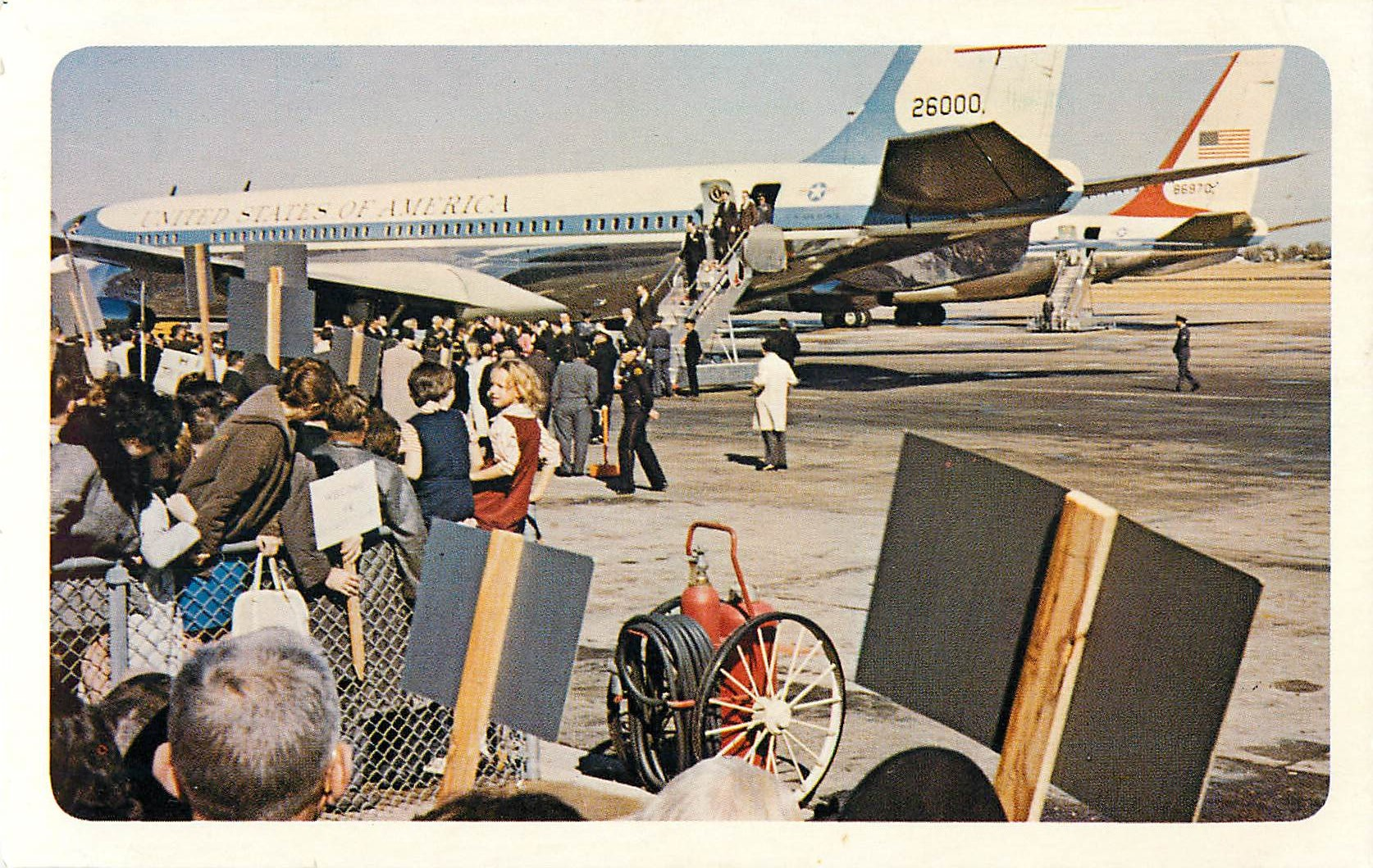 """President Kennedy and Party Leaving the Airplane"""