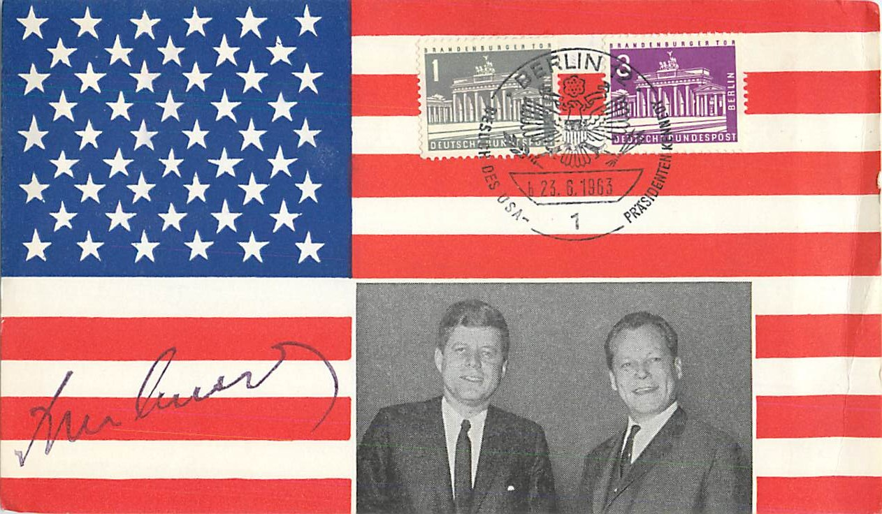 """John F. Kennedy With a Flag Background"""