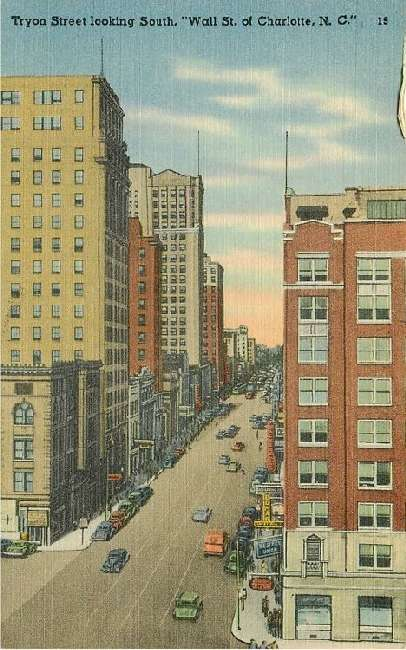 "Tryon Street looking South, ""Wall St. of Charlotte, NC"""