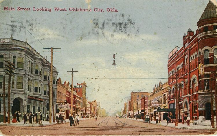 Main Street Looking West, Oklahoma City, Okla.