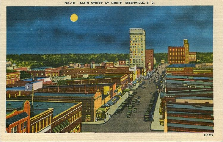 Main Street at Night, Greenville, S.C.