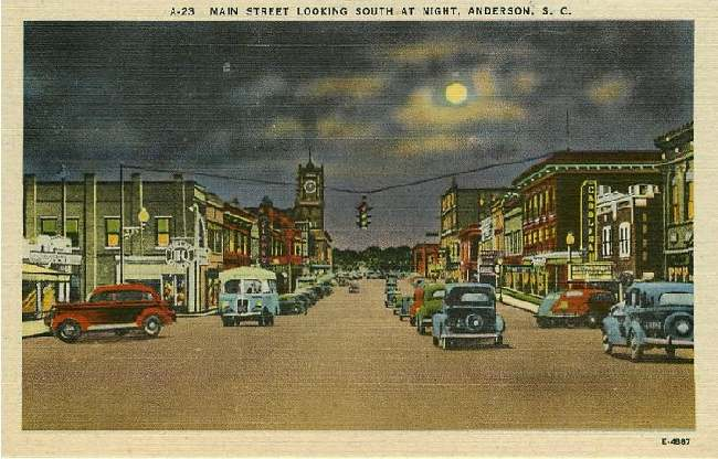 Main Street Looking South at Night, Anderson, S.C.