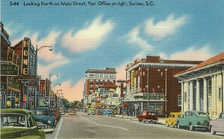 Looking North on Main Street, Post Office at right, Sumter, S.C.
