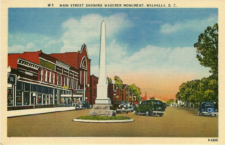 Main Street Showing Wagener Monument - Walhalla S.C.