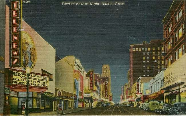 Theatre Row at Night, Dallas, Texas - Elm Street Looking East