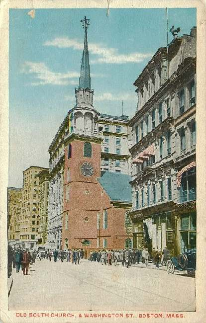 Old South Church, & Washington St., Boston, Mass.