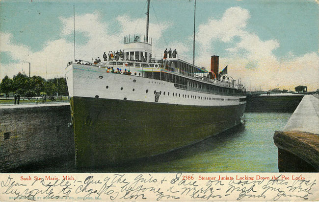 Steamer Junista Sault Ste Marie Mich at Poe Docks
