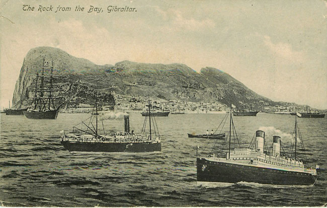 The Rock from the Bay, Gibraltar with Steamboats in the Water