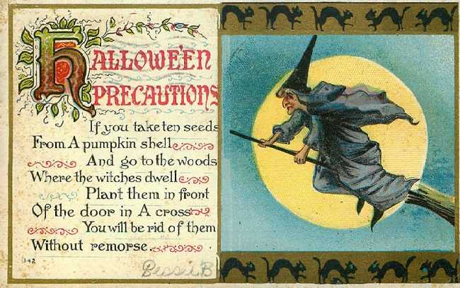 Halloween Postcard Precautions Witch 1911