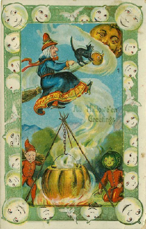 All Halloween Greetings Postcard - Witch Cat Pumpkins