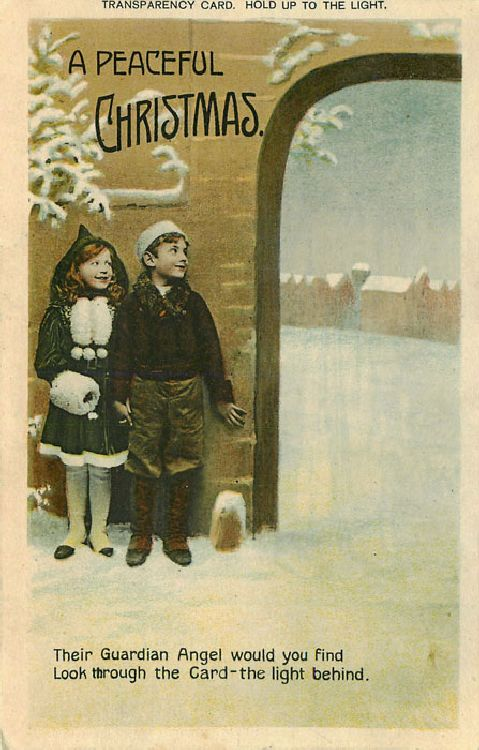 A Peaceful Christmas - Girl and Boy Looking at Angel