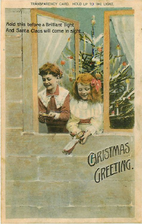 Christmas Greeting - Two Girls Playing at the Window