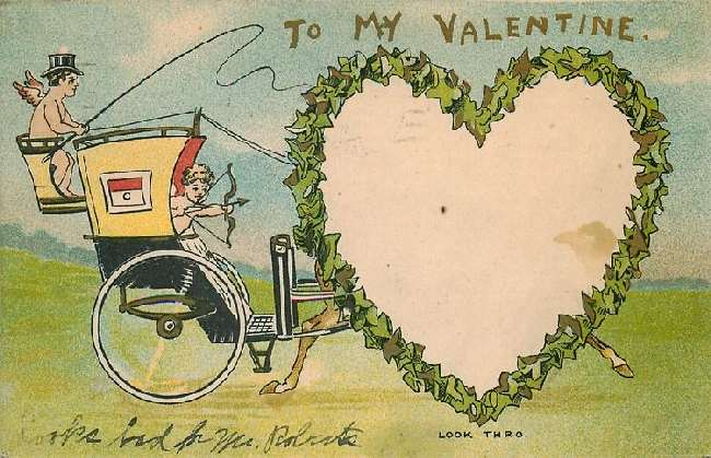 To My Valentine - Cherub and Cupid in Horse-Drawn Cart