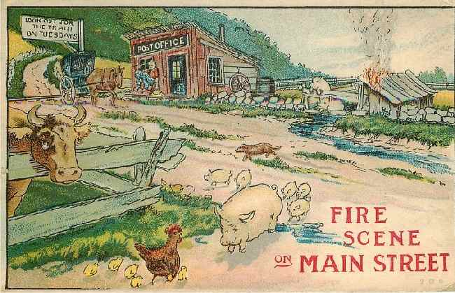 Fire Scene on Main Street - Cow, Pigs, Rooster, Chicks