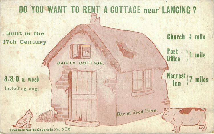 """Do you want to rent a cottage near Lancing?"" Dog, Cottage & Pig"