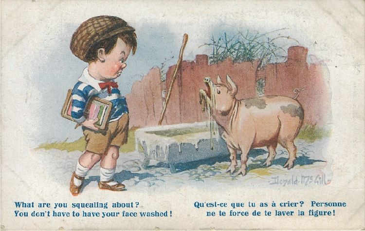 "Boy and Pig with Muddy Face - ""What are you squealing about?"""