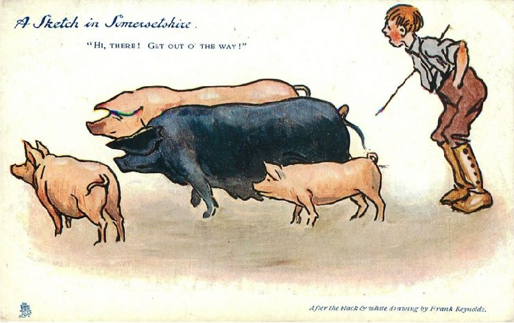 "Boy and Pigs - ""A Sketch in Somersetshire"""