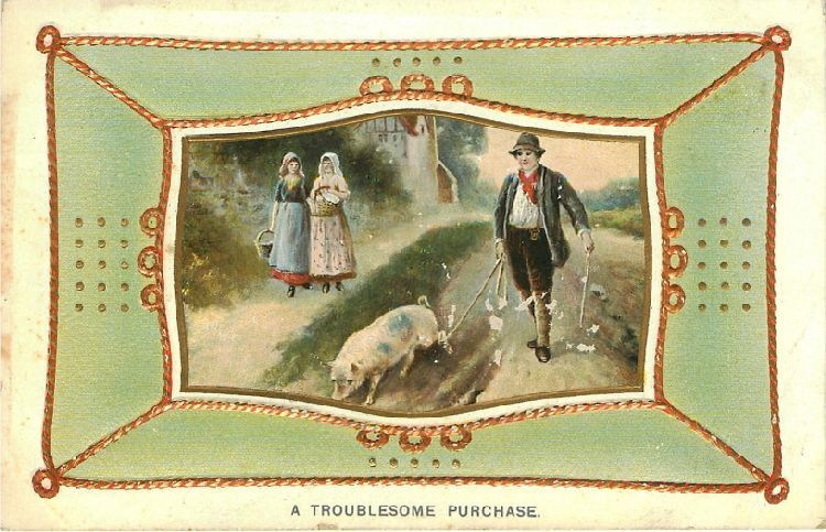 A Troublesome Purchase - Man with Pig Walks Past Two Girls