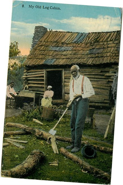 Black Americana Postcard - A Black Man chopping wood. No. 8