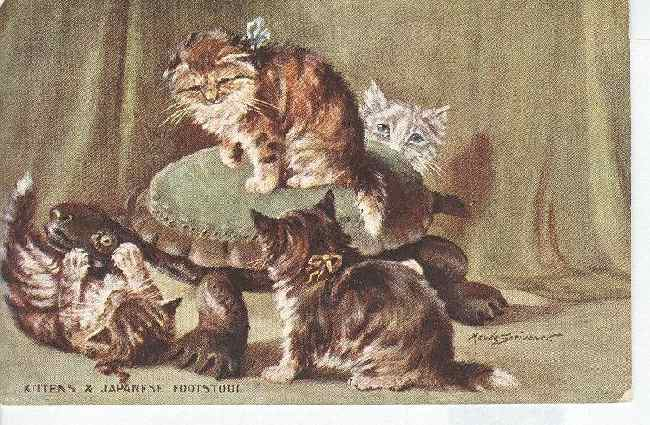 "CAT Postcard ""Kittens & Japanese Footstool"" SIGNED"