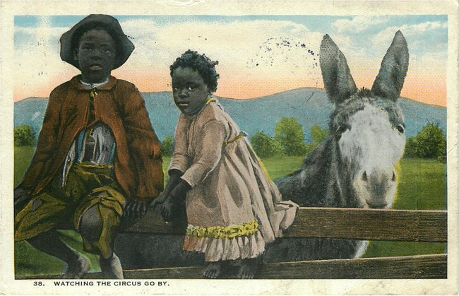 "Black Americana Postcard - ""Watching the Circus go by.""-No. 38"