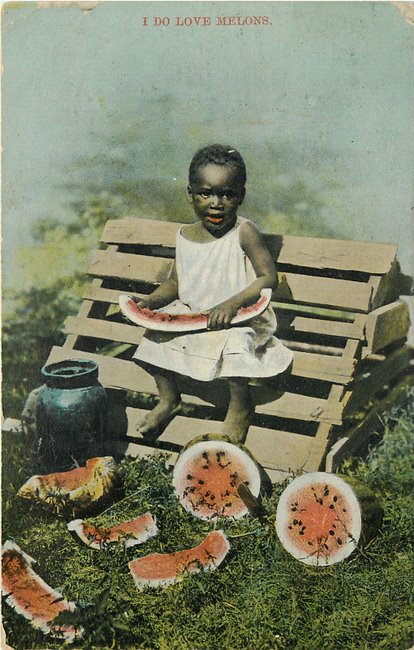 Postcard of Black kid eating watermelon postcard