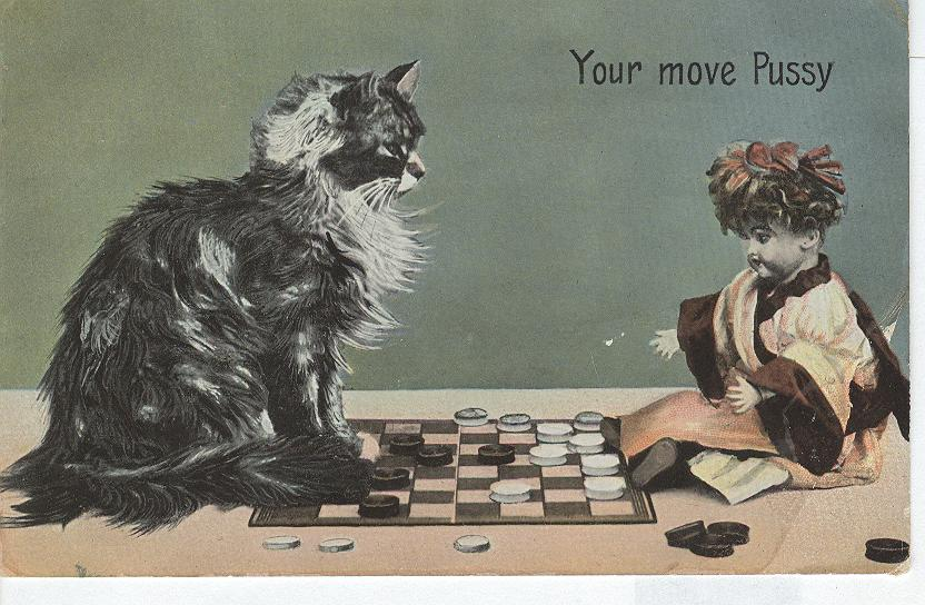 "CAT Postcard ""Your Move Pussy"" 1905"