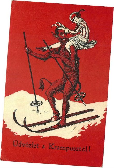 Udvozlet a Krampusztol! - Devil on Snow Ski - Postcard