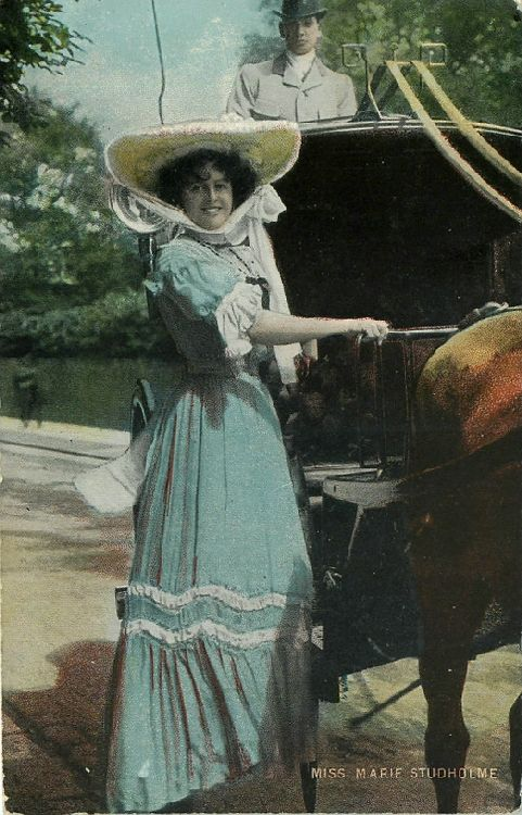 Miss Marie Studholme Standing by Horse-Drawn Cart Postcard