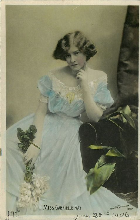 Miss Gabrielle Ray Holding White Flowers - No. 0337 Postcard