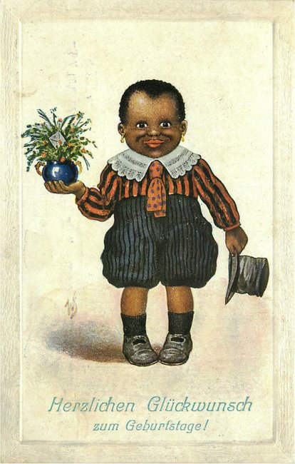 Black Americana Postcard - Black German Kid with hat and flowers