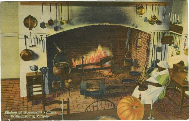 Black Americana Postcard - Kitchen of Governor's Palace, VA
