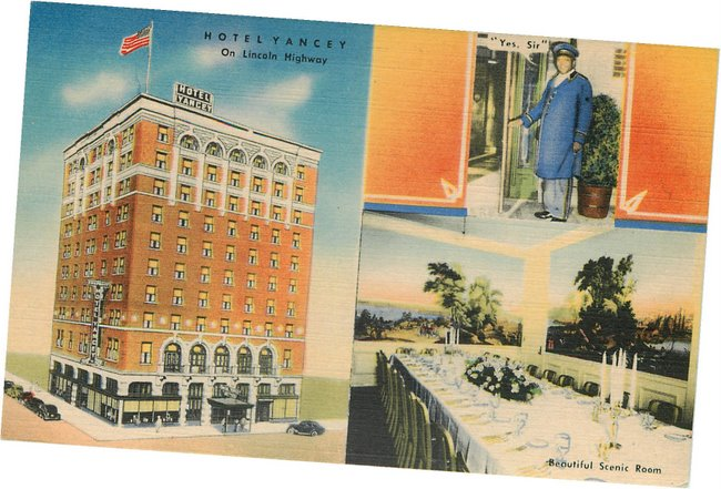 Black Americana Postcard - Hotel Yancey on Lincoln Highway