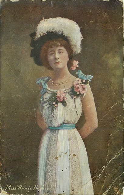 Miss Annie Hughes Edwardian Actress Postcard Postmarked 1906