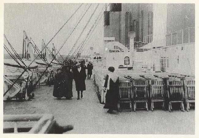 Strollers on the boat deck of the Titanic (1912) Reproducted1988