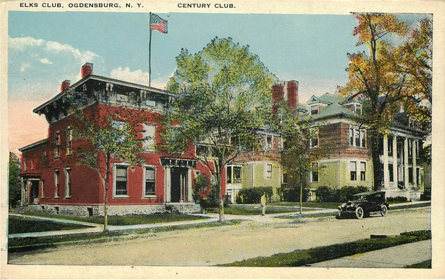 Elks Club Ogdensburg, NY Century Club Postcard