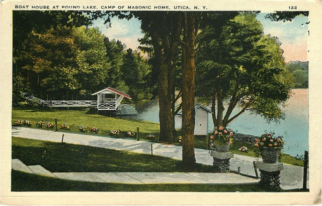 Boat House at Round Lake, Camp Of Masonic Home Postcard