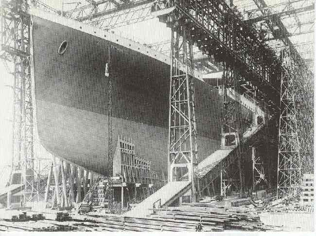 Titanic in the Gantry in the spring 1911 Reproduced Postcard