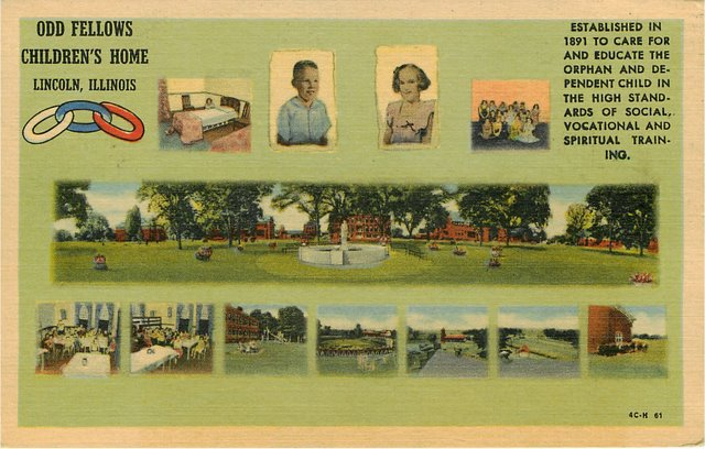 Odd Fellows Childrens Home Lincoln IL Club Postcard