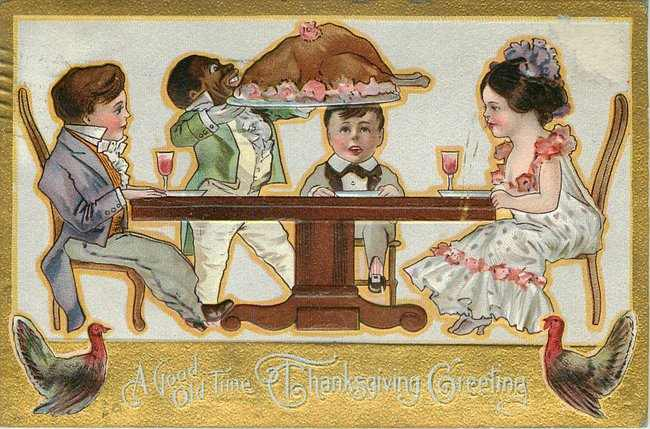 Black Americana Postcard - A Good Old Time Thanksgiving Greeting