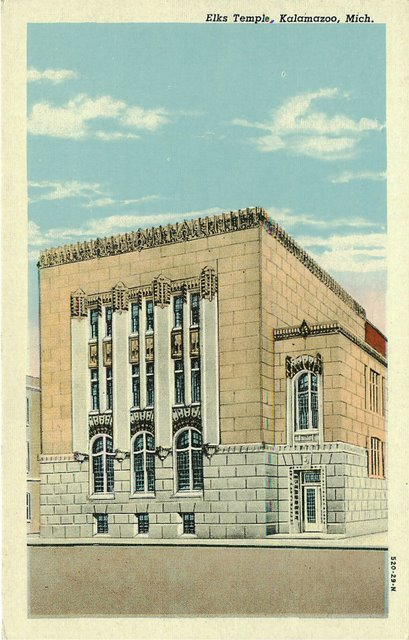 Elks Temple, Kalamazoo Mich, Club Postcard