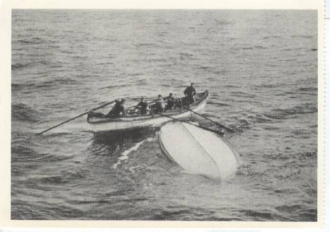 An overturned lifeboat from the Titanic (1912) Reproduced 1988